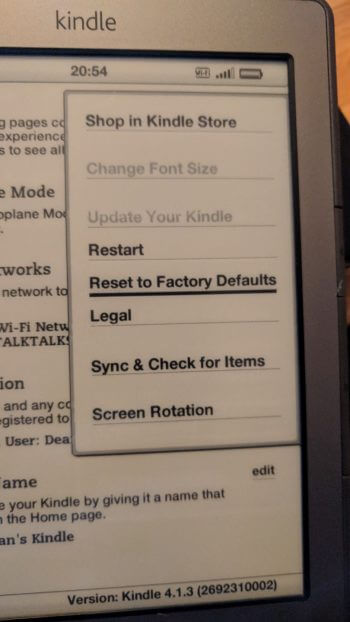 Kindle factory reset defaults screen