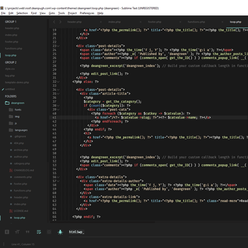 Screen shot of some HTML